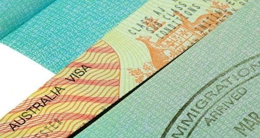 Australian visa and immigration stamp - a passport souvenir from your Australia vacation.