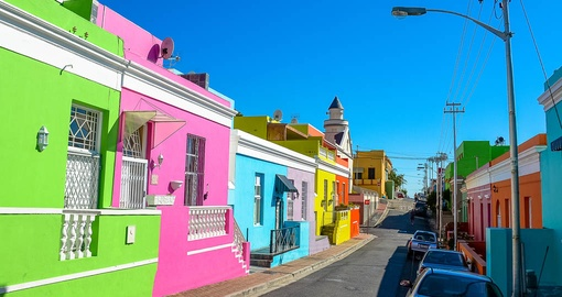Take in all the colours of the vibrant Bo-Kaap neighbourhood on your South African Vacation