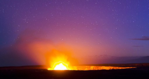 Kilauea Volcano glows on the Big Island of Hawaii