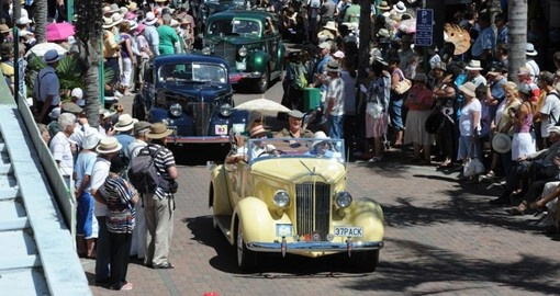Old cars come out in mass during a parade in Napier