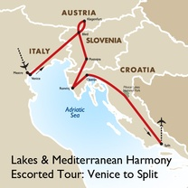 Lakes & Mediterranean Harmony Escorted Tour: Venice to Split