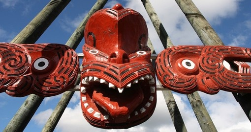 Maori red face carving
