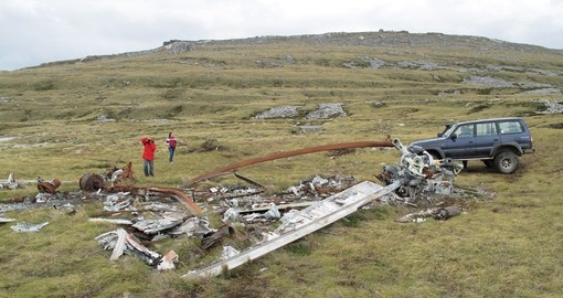 A helicopter wreck from the War of 1982