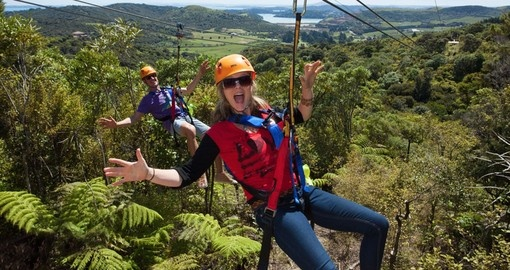 Experience the rush of adrenaline while ziplining on your New Zealand Vacation.