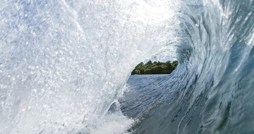 Looking through a wave to Savaii Island