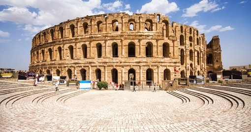 When traveling to Tunisia see the ruins of the largest colosseum in North Africa - El Djem