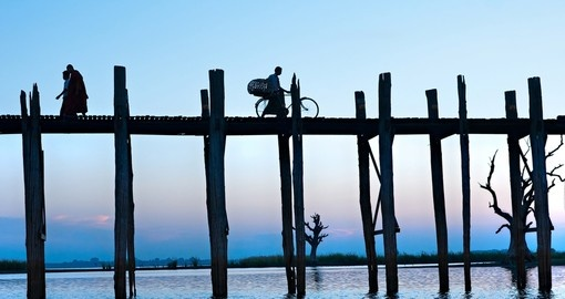 U bein bridge at Amarapura is a popular photo stop on your Myanmar tour.