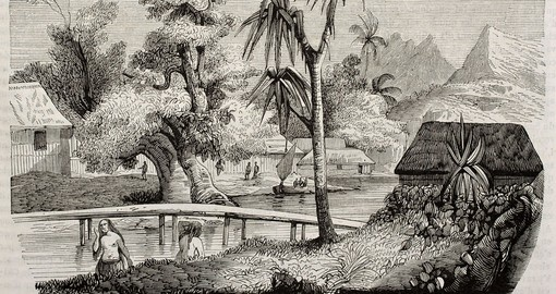 Tahiti island old view, 1843