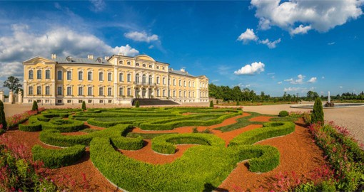 Designed by Italian Master Bartolomeo Rastrelli, Rundale Palace was the home of the Duke of Courland