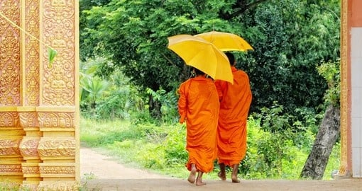 Monks walking morning alms in An Giang