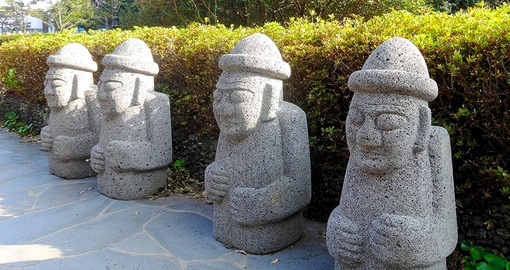 "Dolharubang, or  ""the Grandfather Stones"" are dotted all overJeju Island"