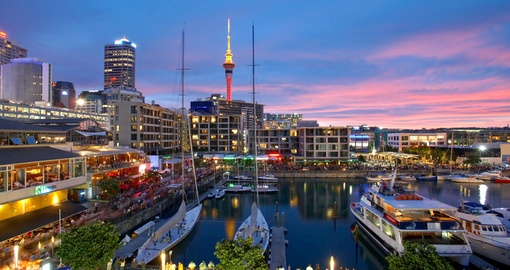 Sunset at Viaduct Harbour in Auckland