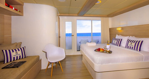 Watch the world go by in your Ocean View Master Suite on your Galapagos Tour