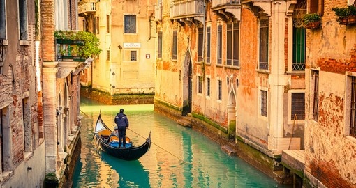 Gondola on canal in Venice, Italy