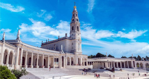 The neo-classical limestone Basilica at Fatima with constructed between 1928 and 1954