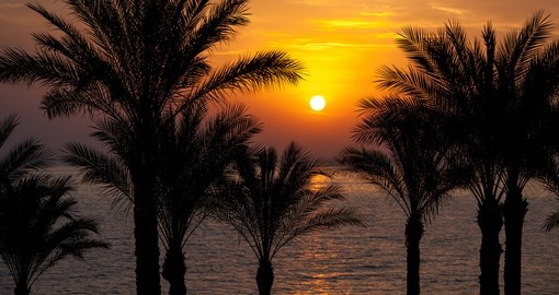 The rising sun over the Red Sea