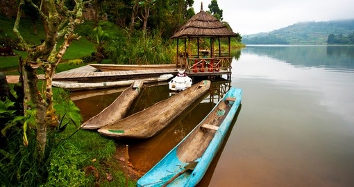 Traditional boats on Lake Bunyonyi in Uganda
