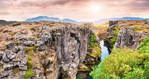 Tectonic plates of Thingvellir, Iceland.