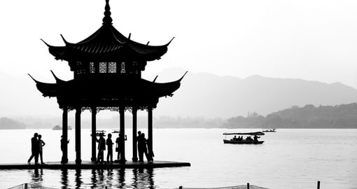 Chinese pavilion silhouette on West Lake