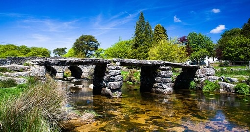 The ancient clapper bridge at Postbridges in Dartmoor National Park