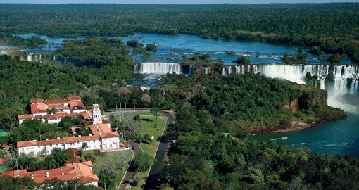 Aerial view of Das Cataratas Hotel and Iguassu Falls