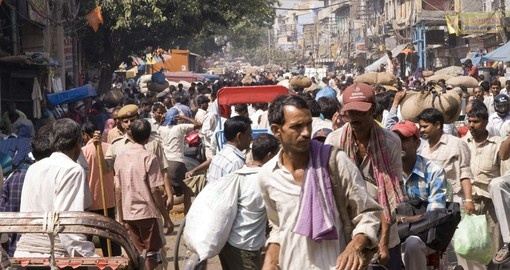 Crowded street scene from Old Delhi