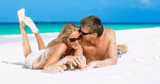 Honeymooners enjoying their vacation on Maldives