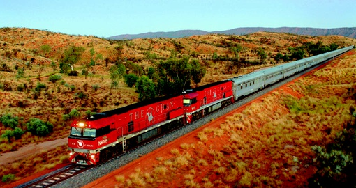 The Ghan journeying through the Outback