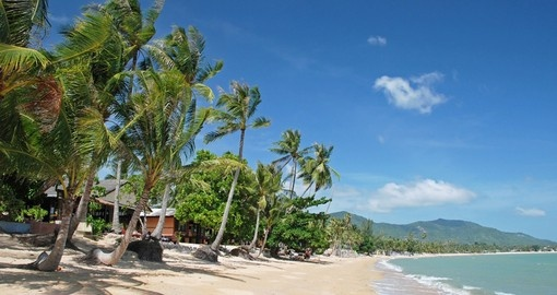 White sandy beaches, coral reefs and coconut trees