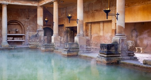 Visit Roman Baths preserved Roman site for public bathing during your next England vacations.