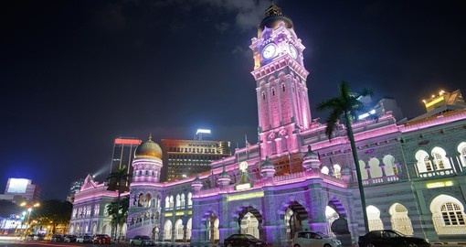 Colorful city night with famous landmark Sultan Abdul Samad Building