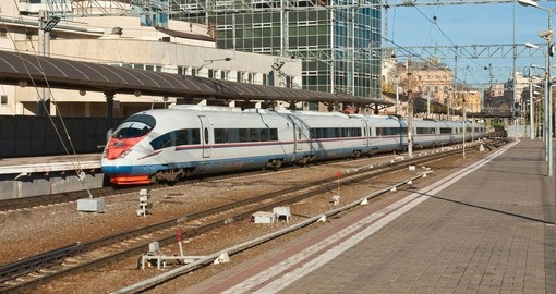 The Sapsan high speed train is part of your trip to Russia