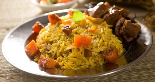 Arab rice served with tandoor lamb