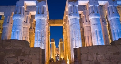 Viewing the Luxor temple at night makes for great photo opportunities on your Egypt vacation.