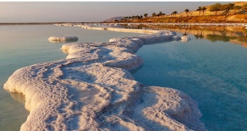Morning sunshine on the Dead Sea coast - a great photo opportunity when travelling to Jordan.