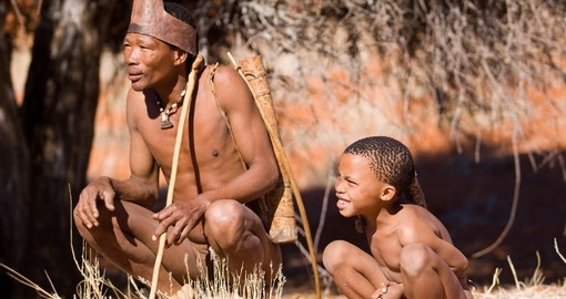 Bushmen family show people how they live in the kalahari desert