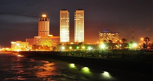 Colombo at night along the waterfront