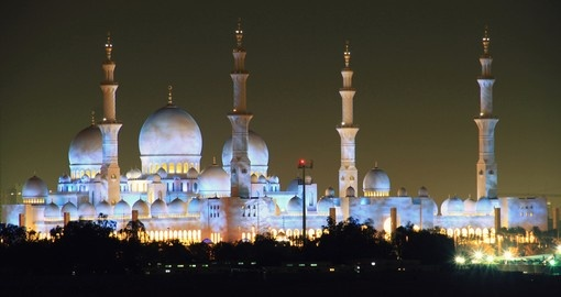 Abu Dhabi's skyline at night
