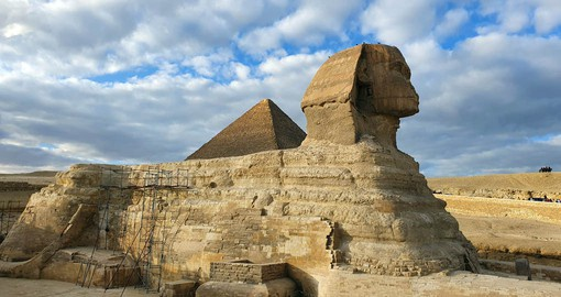 One of the most recognizable relics of the ancient Egyptians, The Great Sphinx of Giza is a 4,500-year-old limestone statue