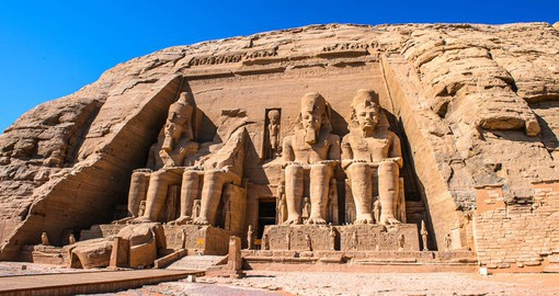 A stop on your Egypt tour is made at Abu Simbel to experience the Great Temple of Rameses II