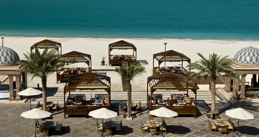 Visit beach bar area on your stay at Kempinski Emirates Palace on your next  Abu Dhabi vacation.