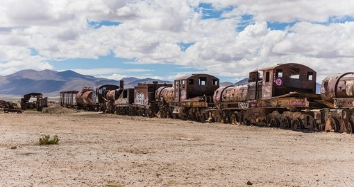 Uyuni's Train Cemetery is a great photo opportunity on your Bolivia vacation