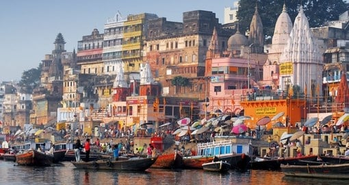 The riverbanks in the holy city of Varanasi