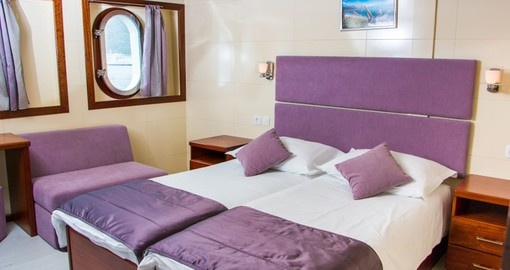 Cabin onboard Katarian Cruises Deluxe Futura Ship. Katarina Cruises is the ultimate cruise option for Croatia, Europe.