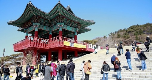 Bulguksa temple bell pavilion is a popular site to visit during your Korea vacation.