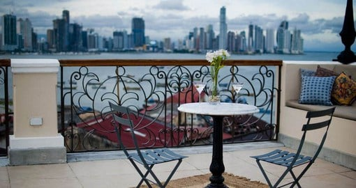 Enjoy panoramic views from Las Clementins roof top patio