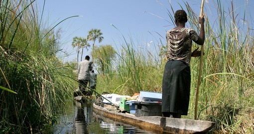 Local working people in the delta, Botswana