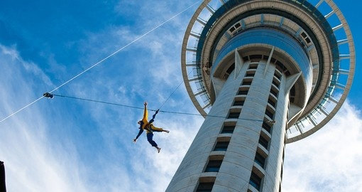 Bungie jumper off Auckland Sky Tower