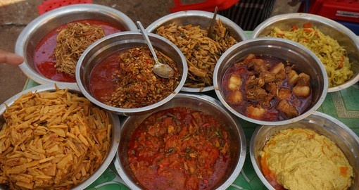 Curries on display in Pakokku Market