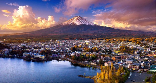 The highest mountain in Japan, Mount Fuji is a dormant volcano that last erupted in 1707
